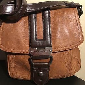 TIGNANELLO Tan And Brown Leather Crossbody Handbag